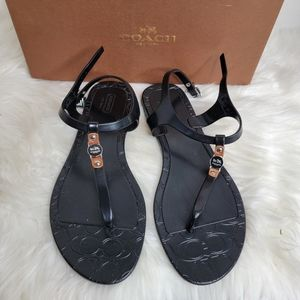 COACH Piccadilly Jelly Signature Flat Sandals sz 9